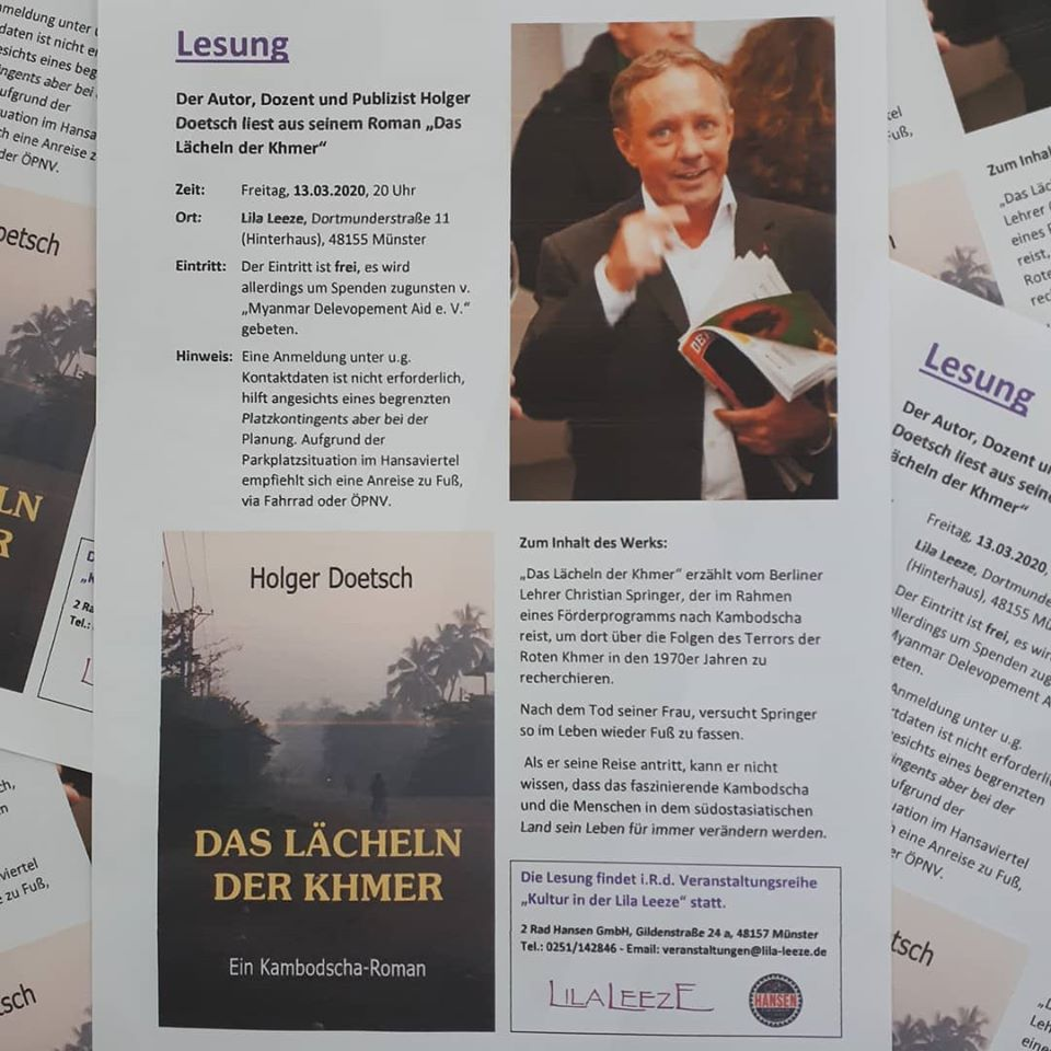 "Kultur in der Lila Leeze: Holger Doetsch liest aus seinem Roman ""Das Lächeln der Khmer""."